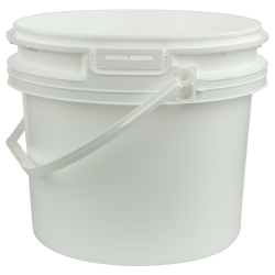 White Polypropylene 3-1/2 Gallon/14 Liter Bucket with Handle