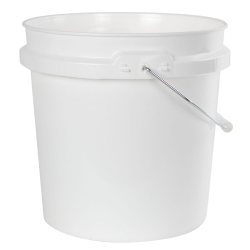 2 Gallon White HDPE Pail with Handle