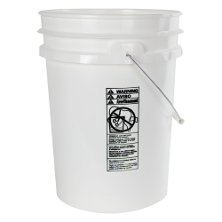 5.5 Gallon White HDPE UN Rated Pail with Handle