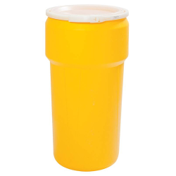 20 Gallon Yellow Open Head Poly Drum with Plastic Lever-Lock Ring