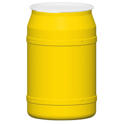 55 Gallon Yellow Straight Sided Open Head Poly Drum with Plain Lid & Plastic Lever-Lock Ring