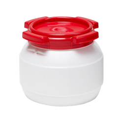 1 Gallon White UN Rated HDPE Wide Mouth Drum with Red Lid - Stackable