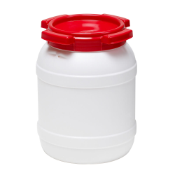 1.6 Gallon White UN Rated HDPE Wide Mouth Drum with Red Lid - Stackable