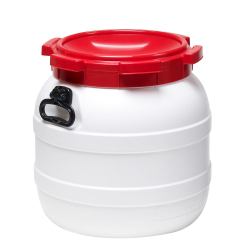 11.1 Gallon White UN Rated HDPE Wide Mouth Drum with Red Lid - Hand Grip