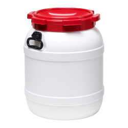 14.5 Gallon White UN Rated HDPE Wide Mouth Drum with Red Lid - Hand Grip