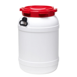 18 Gallon White UN Rated HDPE Wide Mouth Drum with Red Lid - Hand Grip