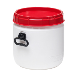 6.9 Gallon White UN Rated Open Drum with Red Lid & Hand Grip