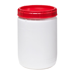 10.3 Gallon White UN Rated Open Drum with Red Lid