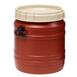 14.5 Gallon Brown UN Rated Open Drum with Beige Lid & Hand Grip