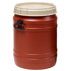 16.9 Gallon Brown UN Rated Open Drum with Beige Lid & Hand Grip