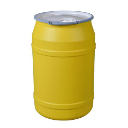 """55 Gallon Yellow Straight Sided Open Head Poly Drum with 2"""" & 3/4"""" Bungs Lid & Metal Lever-Locking Ring"""