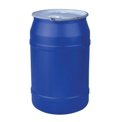 """55 Gallon Blue Straight Sided Open Head Poly Drum with 2"""" & 2"""" Bungs Lid & Metal Lever-Locking Ring"""