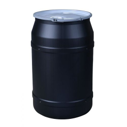 """55 Gallon Black Straight Sided Open Head Poly Drum with 2"""" & 2"""" Bungs Lid & Metal Lever-Locking Ring"""