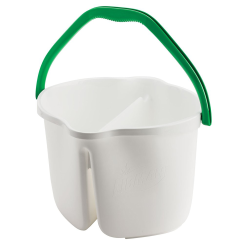 White 3 Gallon Clean & Rinse Bucket with Green Handle