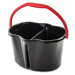 Black 4 Gallon Clean & Rinse Bucket with Red Handle