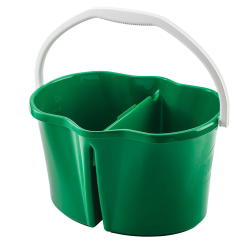 Green 4 Gallon Clean & Rinse Bucket with White Handle