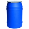 55 Gallon Blue Straight Sided Open Head Poly Drum with Metal Lever-Lock Ring