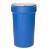 55 Gallon Blue Open Head Poly Drum with Metal Lever-Lock Ring