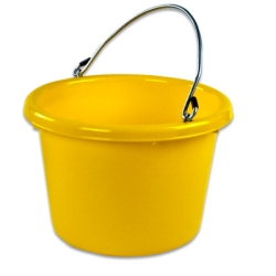 Yellow Molded Rubber-Polyethylene 8 Quart Pail