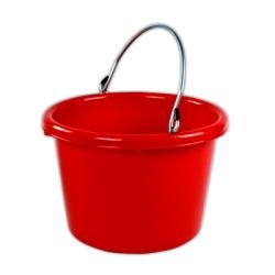 Red Molded Rubber-Polyethylene 8 Quart Pail