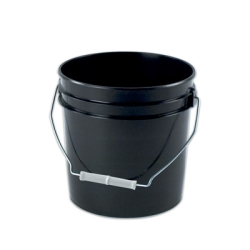 "Black 2 Gallon Plastic Pail - Top OD 9.60"", Bottom OD 8.14"", Hgt. 9.50""."