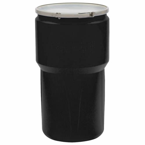 14 Gallon Black Open Head Poly Drum with Metal Lever-Lock Ring