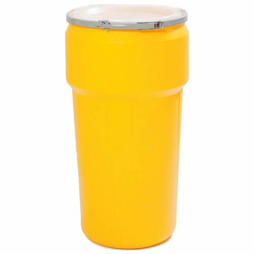 20 gallon yellow open head poly drum with metal lever lock ring u s plastic corp. Black Bedroom Furniture Sets. Home Design Ideas