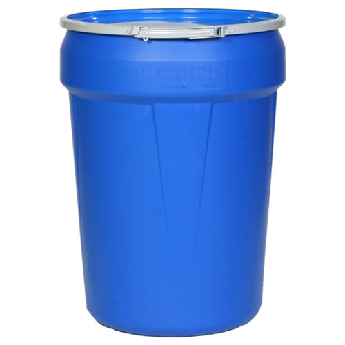 30 Gallon Blue Open Head Poly Drum With Metal Lever Lock