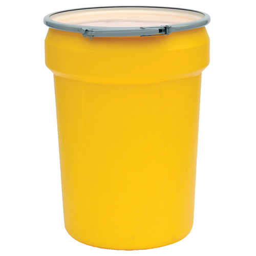 30 Gallon Yellow Open Head Poly Drum with Metal Lever-Lock Ring