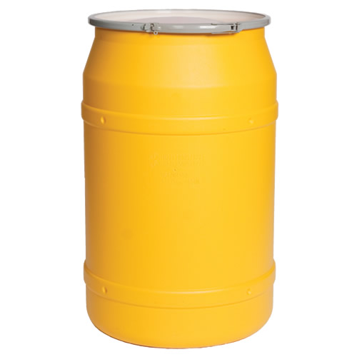 55 Gallon Yellow Straight Sided Open Head Poly Drum with Plain Lid & Metal Lever-Lock Ring
