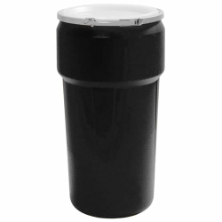 20 Gallon Black Open Head Poly Drum with Metal Lever-Lock Ring