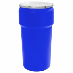 20 Gallon Blue Open Head Poly Drum with Metal Lever-Lock Ring