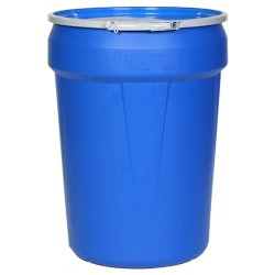 30 Gallon Blue Open Head Poly Drum with Metal Lever-Lock Ring
