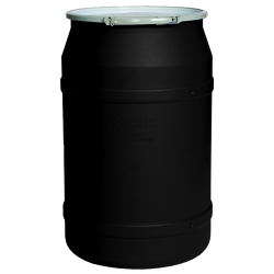 55 Gallon Black Straight Sided Open Head Poly Drum with Plain Lid & Metal Lever-Lock Ring