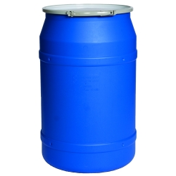 55 Gallon Blue Straight Sided Open Head Poly Drum with Plain Lid & Metal Lever-Lock Ring