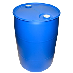 """55 Gallon Closed Top Blue Poly Drum with 2"""" NPS & 2"""" Buttress Bungs"""