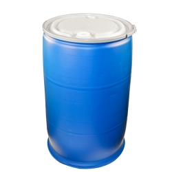 55 Gallon Open Top Blue Poly Drum with Sidelever Lockband & Lid