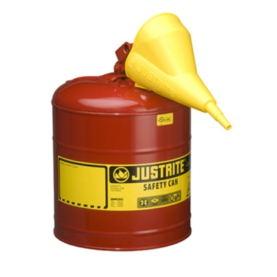 "5 Gallon Justrite® Type I Safety Can with Funnel - 11-1/2"" x 17"""