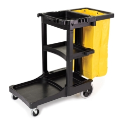 Rubbermaid® Cleaning Cart with Zippered Yellow Vinyl Bag