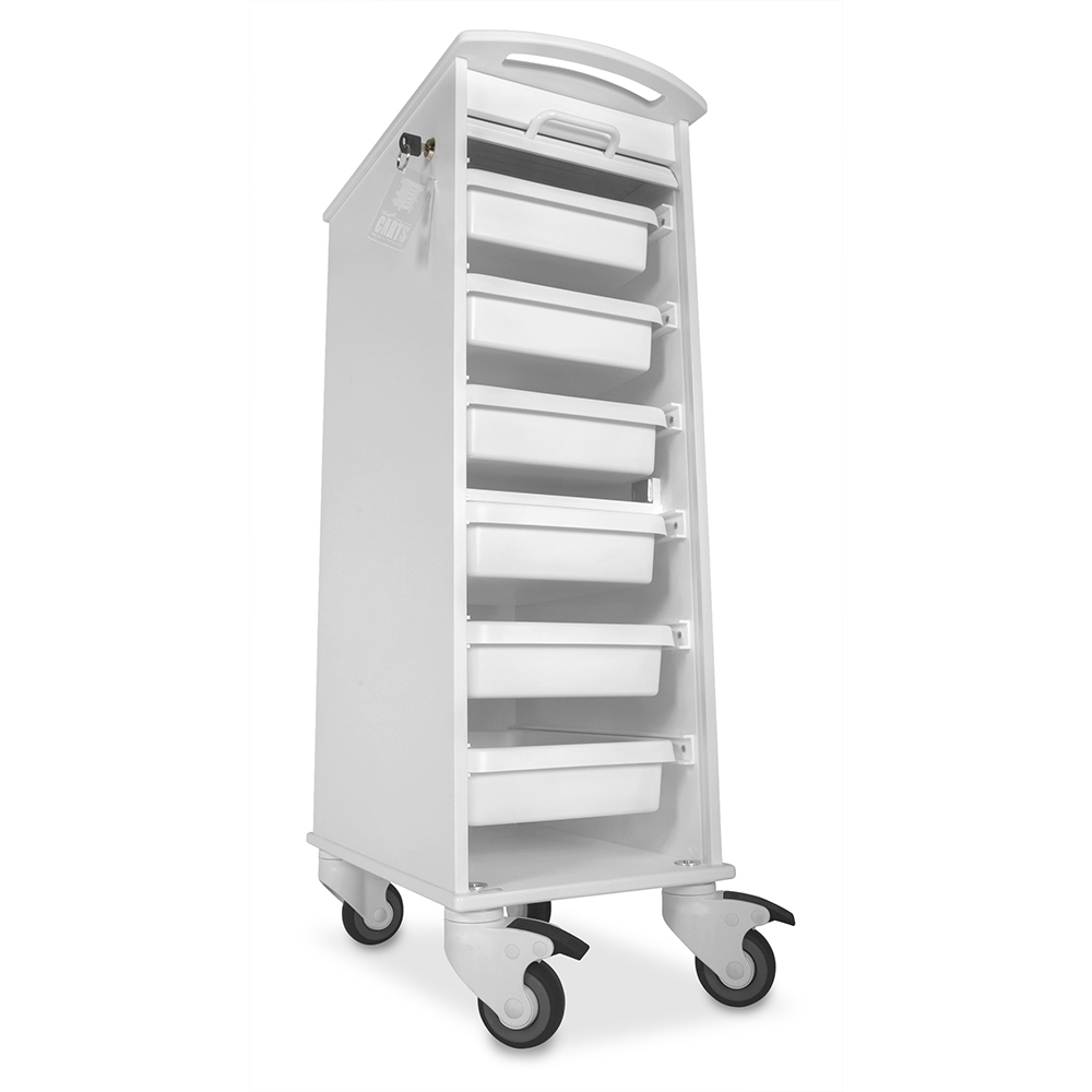 TrippNT White Polyethylene Lockable Narrow Lab Cart