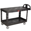 "Black Rubbermaid® Large Flat 2 Shelf Utility Cart - 54"" L x 25-1/4"" W x 36"" H"