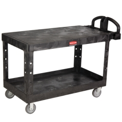 "Black Rubbermaid® Large Flat 2 Shelf Utility Cart - 54"" L x 25-1/4"" W x 36"" H"