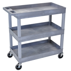3 Shelf Gray Tub Cart