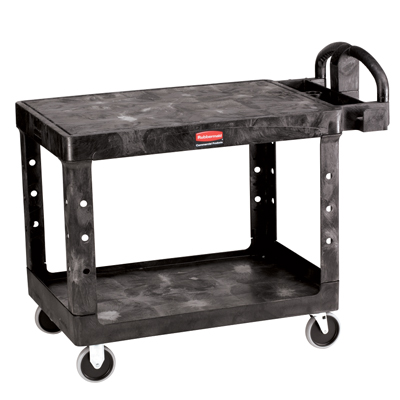 "Black Rubbermaid® Medium Flat Shelf Utility Cart - 43-7/8"" L x 25-5/8"" W x 33-5/16"" H"