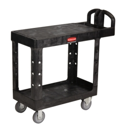 "Black Rubbermaid® Small Flat Shelf Utility Cart - 37-7/8"" L x 19-3/16"" W x 33-5/16"" H"