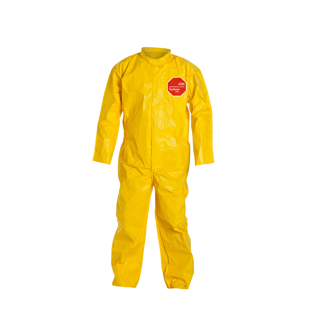 DuPont™ Tychem® 2000 X-Large Yellow Coveralls with Collar & Open Wrists/Ankles