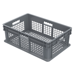"24"" L x 16"" W x 8"" Hgt. Akro-Mils® Straight Walled Gray Container w/Mesh Sides & Base"