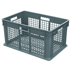 "24"" L x 16"" W x 12"" Hgt. Akro-Mils® Straight Walled Gray Container w/Mesh Sides & Base"
