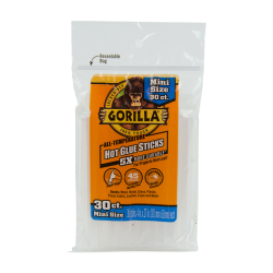"4"" Mini Gorilla Hot Glue Sticks- Bag of 30"