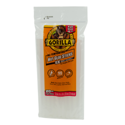 "8"" Full Gorilla Hot Glue Sticks- Bag of 20"